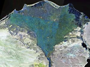Das Nildelta nördlich von Kairo. Ägyptens Wasserversorgung hängt zu 99 Prozent vom Nil ab.