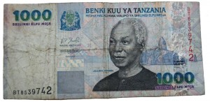 Prägte nicht nur das politische Denken Tansanias: Nyerere auf einem 1.000 Shilling-Schein - Copyright: Fanny Schertzer