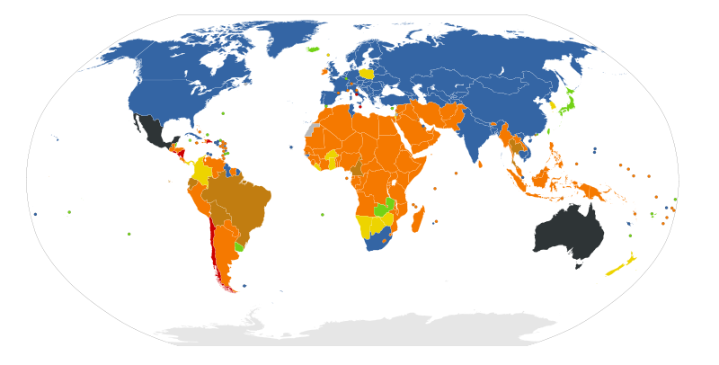"This map shows abortion laws worldwide, differing from ""Legal on request"" (blue), ""Legal for rape, maternal life, health, mental health, socioeconomic factors, and/or fetal defects"" (green), ""Illegal with exception for rape, maternal life, health, fetal defects, and/or mental health"" (yellow), ""Illegal with exception for rape, maternal life, health, and/or mental health"" (brown), ""Illegal with exception for maternal life, health, and/or mental health"" (orange) and ""Illegal with no exceptions"" (red)."