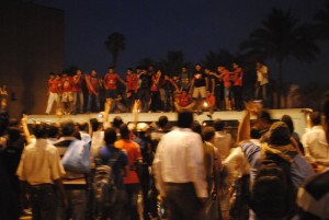 Ultras von Al-Ahly auf dem Tahrir-Platz im letzten Jahr - Copyright: Lilian Wagdy