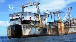 """Fishing vessel off the coast of Sierra Leone, screenshot from """"Through the Net"""", EJF"""