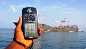 "GPS coordinates of a fishing vessel, screenshot from ""Throught the Net"", EJF"