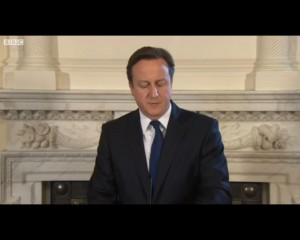 Press conference of UK's Prime Minister David Cameron, snapshot from BBC Africa
