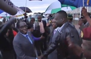 Robert Mugabe at the airport in Harare