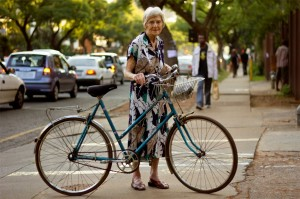 "Even 82-year-old Stephanie Baker is convinced of her bike: ""I'm limited to about a kilometer in view of my age, and I use it, well, certainly every other day... about a kilometer uphill in Pretorius street. I keep on the pavements, they're in a terrible state with chunks missing, but cycling is awfully good for public relations. I know the area's cleaners at the flats on my way to church - I get a greeting from them."""