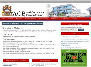 Screenshot of the start page of the official ACB homepage, screenshot: eufrika.org