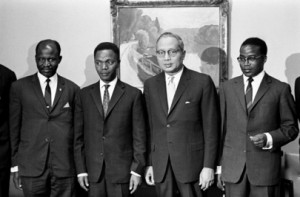 Gregoire Kayibanda, first president of Rwanda (2nd from left) meant a shift in the ruling of Rwanda from Tutsi to Hutu supremacy, Copyright: UN Photo by Teddy Chen