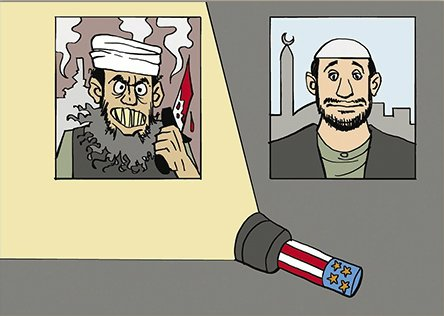 """Dieser Cartoon der ägyptischen Tageszeitung Al-Watan ist mit """"Westliche Brille für die islamische Welt"""" untertitelt. © Al-Watan"""