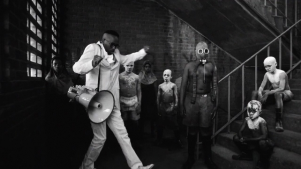 Black and white images from Pieter Hugo and Michael Cleary for Spoek Mathambo's cover of Joy Division's Control - YouTube Screenshot