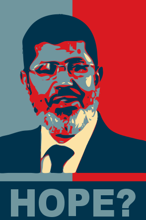 From bearer of hope to disputed leader: the image of president Mursi is heavily debated in Egyptian public © Khalid Albaih