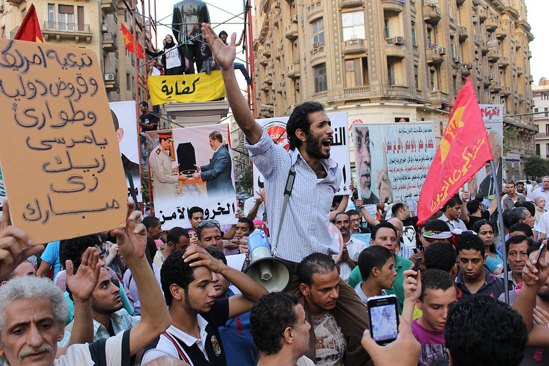 Anti Morsi Protests have become quite a regular happening in Down Town Cairo like here in late August when protestors pilloriyed the president's talks to the IMF. © Gigi Ibrahim