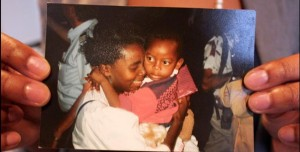 Victoire Ingabire and her daughter Raïssa after the genocide in 1994 at Schiphol Airport in Amsterdam, © Private