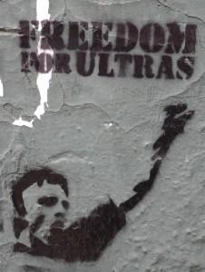 """Ein Stencil fordert """"Freiheit für Ultras"""" © mm/eufrika.org"""