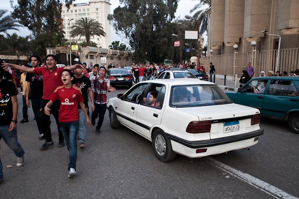 Ultras after building a human chain in front of the Ahly Club center in Cairo's district Zamalek. © Ben Kilb
