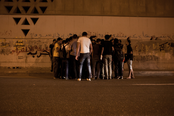 Ultras holding a secret meeting in Cairo's district Nasr City © Ben Kilb