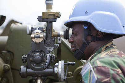 A Tanzanian artillery specialist with the Force Intervention Brigade (FIB) of the UN Organization Stabilization Mission in the Democratic Republic of the Congo (MONUSCO), ©  UN Photo/Sylvain Liechti