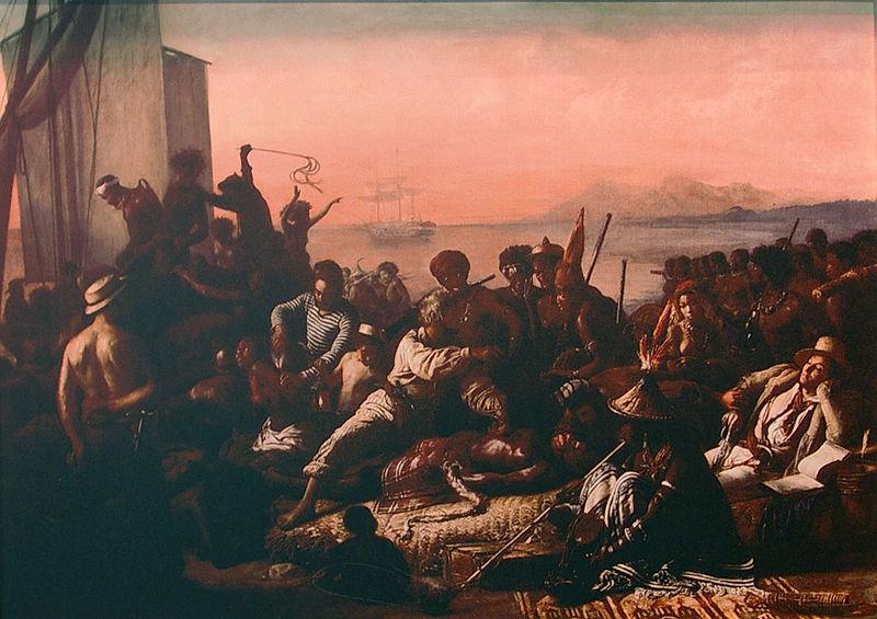 La traite des esclaves (ca. 1833) von François-Auguste Biard zeigt die Versklavung an der westafrikanischen Küste.