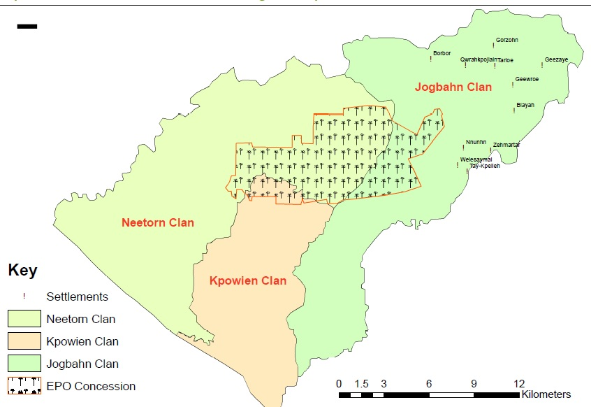 This map shows the concessions of Equatorial Palm Oil Palm in Jogbahn, Kpowein and Neetorn Clans, Grand Bassa Co. © SDI
