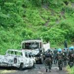 Last Strongold of the Rebels: M23-Positions on Tsanzu hilltop / Der letzte Rückzugsort der M23-Rebellen: Kampftruppen der UNO passieren ausgebrannte FahDer letzte Rückzugsort der M23-Rebellen: Kampftruppen der UNO passieren ausgebrannte Fahrzeuge auf dem Tsanzu-Hügel, Nord-Kivu (Photo: MONUSCO / Clara Padovan)rzeuge auf dem Tsanzu-Hügel, Nord-Kivu