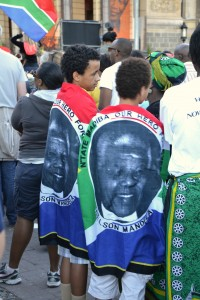 Pictures of Nelson Mandela are dominating the cityscape
