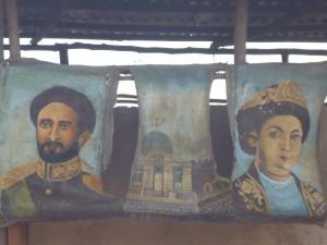 Das äthiopische Kaiserpaar als Klomarkierung in Shashamane