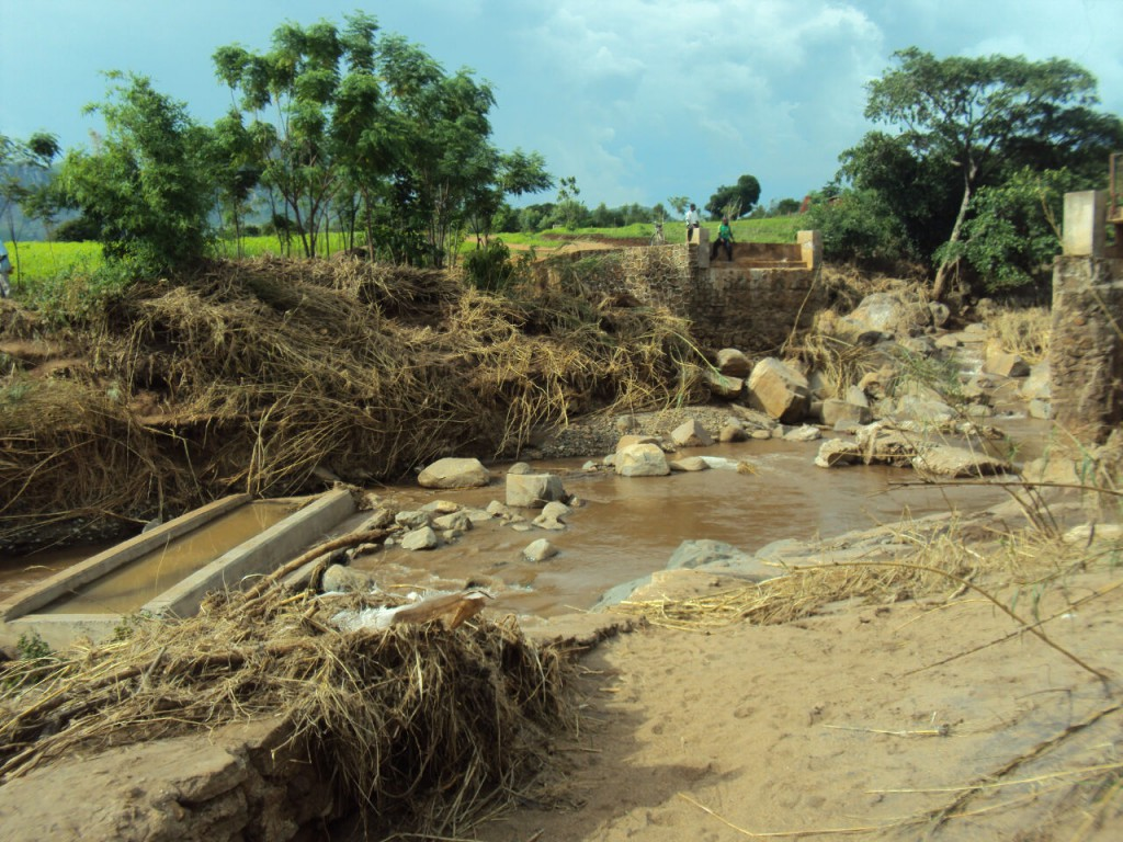 One of the bridges washed away by recent flooding in Malawi (Photo by Deogracias Benjamin Kalima)